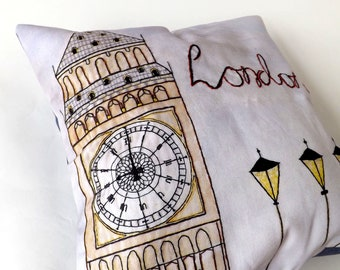 London Big Ben Printed and Embroidered Cushion Cover, Denim Blue Organic Backing Fabric, 40 x 40cm