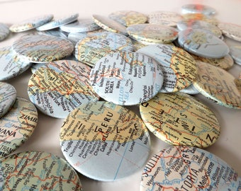 Vintage Classroom World Atlas Map Badges 45mm / Gifts for Geography Geeks!