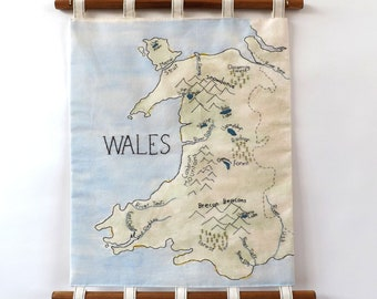 Wales Map (Natural Forms) Embroidered and Painted Wall Hanging