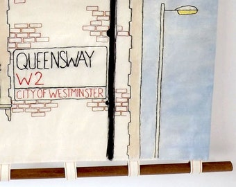 Queensway London Signage Hand Embroidered and Painted Wall Hanging