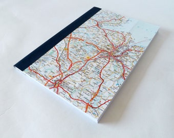 Kiel - Germany Road Map #1 - Recycled Vintage Map Handbound A5 Notebook with Upcycled Blank Pages