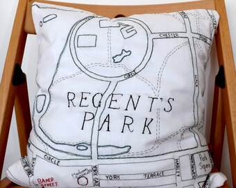 Regents Park, Marylebone and Baker Street Tube Station Central London Hand Embroidered Decorative Map Cushion, Red Fabric Backing, 40 x 40cm