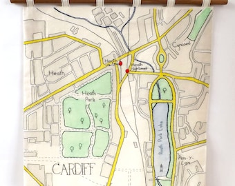 Cardiff North, Roath Park, Heath and Cyncoed Hand Embroidered and Painted Map Wall Hanging