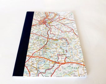 Lubeck - Germany Road Map #4 - Recycled Vintage Map Hand bound A5 Notebook with Upcycled Blank Pages