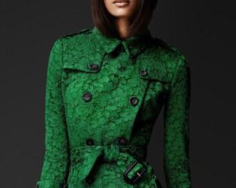 LACE TRENCH coat designer inspired custom made ruffle back