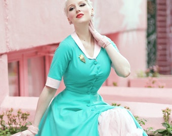 8d9313677910 swing turquoise dress with contrast rockabilly vintage 50s inspired dress  custom made