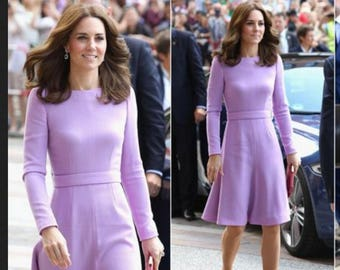 kate middleton royal purple dress swing rockabilly celeb inspired coat dress custom made