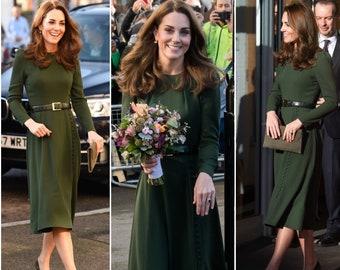 39b9fb275142 kate middleton dress green EVELYN celeb inspired dress custom made Aline
