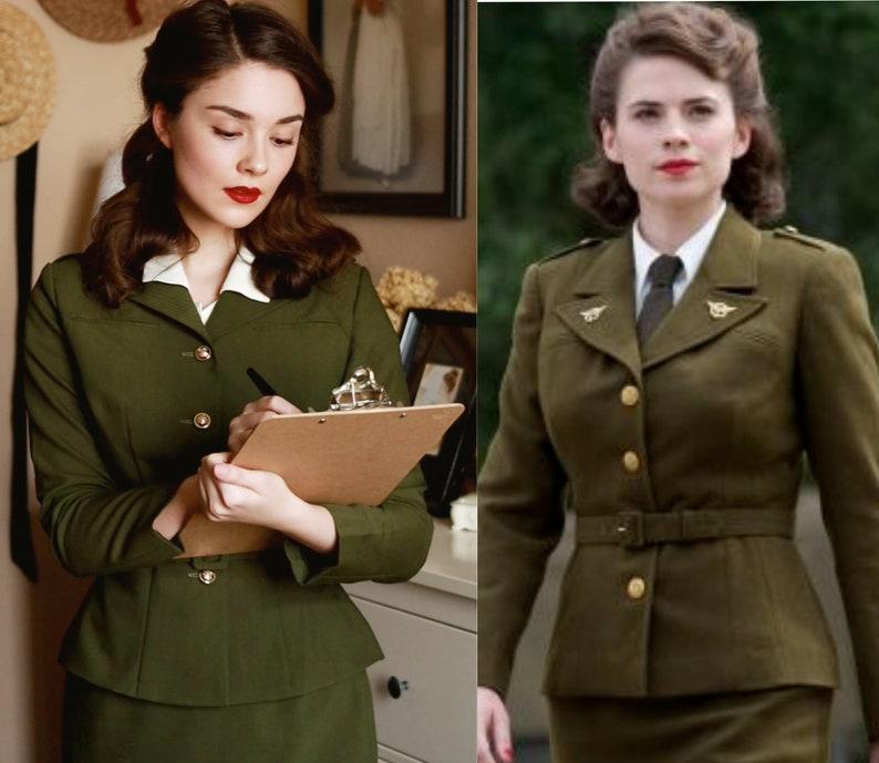 1940s Women's Outfit Inspiration Agent Carter military suit - vintage 1950s suit with pencil skirt $165.00 AT vintagedancer.com