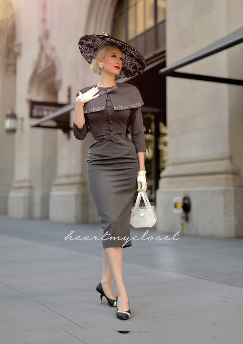 1950s Dresses, 50s Dresses | 1950s Style Dresses Derby - 1950s pencil dress with matching cape $155.00 AT vintagedancer.com