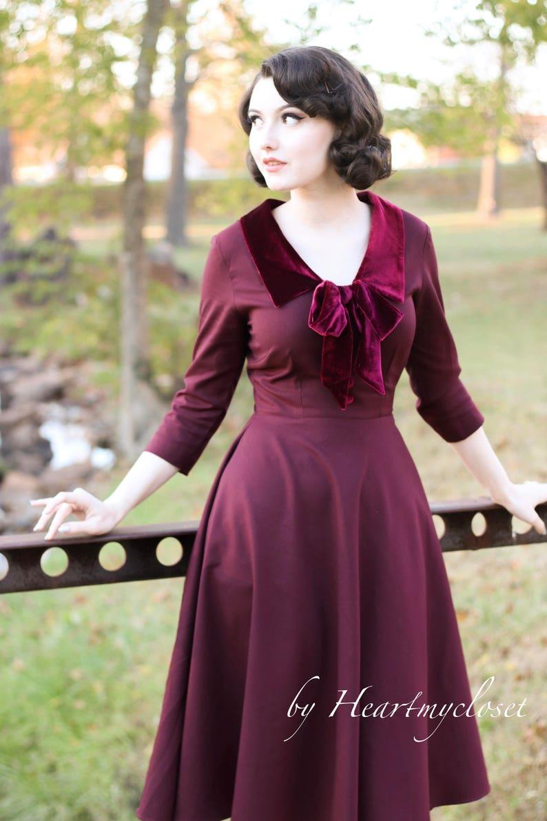 1950s Dresses, 50s Dresses | 1950s Style Dresses velvet trim swing dress rockabilly 50s custom made vintage inspired $98.00 AT vintagedancer.com