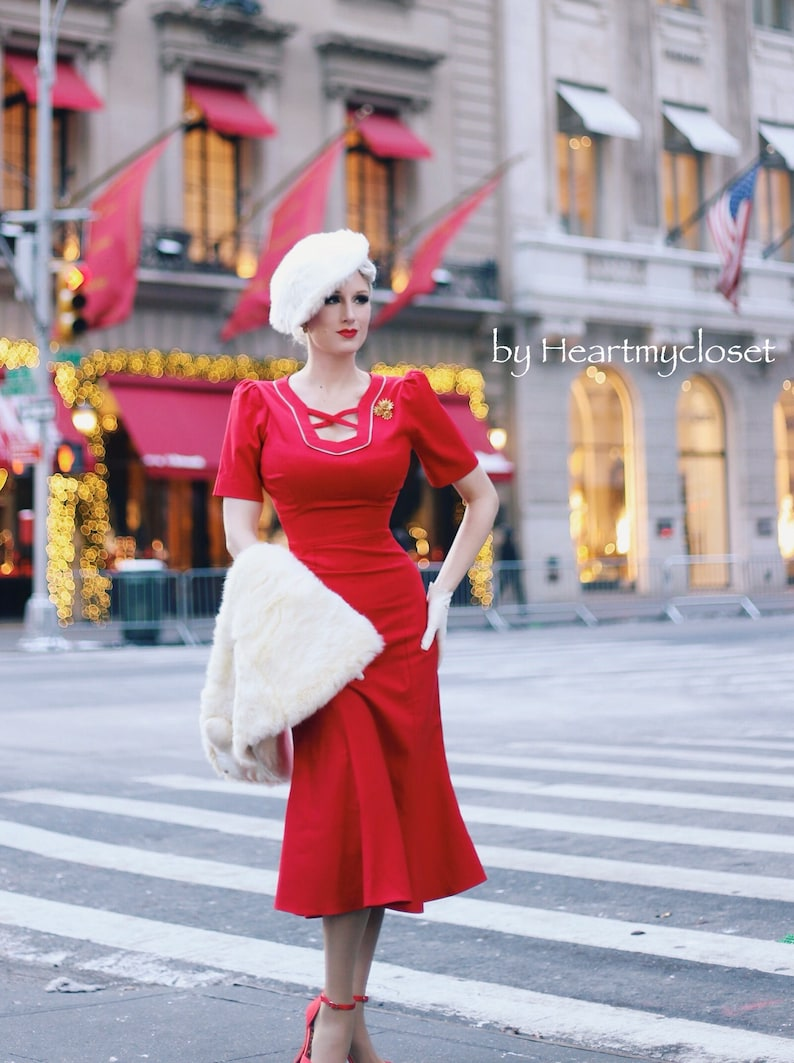 1940s Dress Styles Agent Carter cosplay inspired custom made pencil dress retro $98.00 AT vintagedancer.com