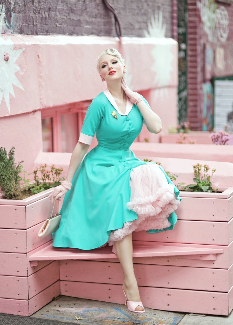 1950s Housewife Dress | 50s Day Dresses swing turquoise dress with contrast rockabilly vintage 50s inspired dress custom made $99.00 AT vintagedancer.com