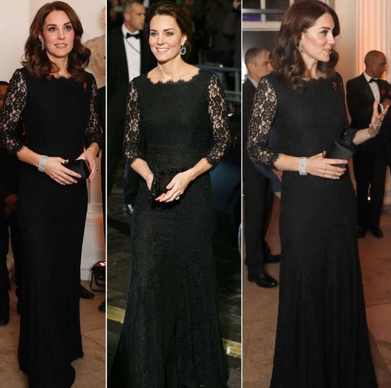 kate middleton black lace gown celeb inspired cocktail ball dress custom made (FLOOR LENGTH)