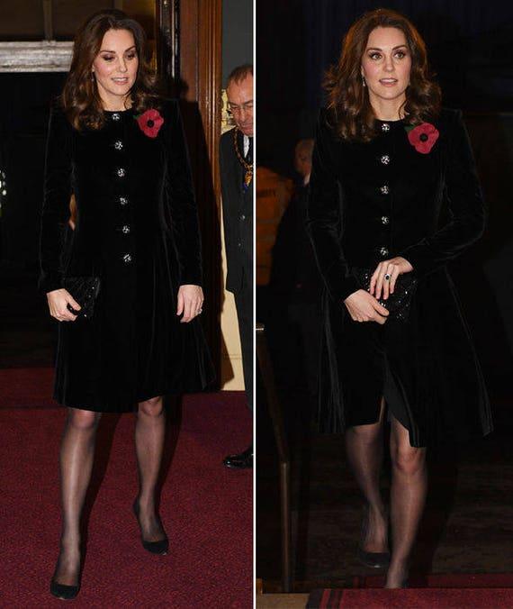 Kate Middleton Black Velvet Dress Celeb Inspired Custom Made Etsy