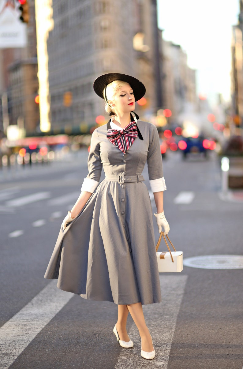 1950s Women's Outfit Inspiration tv inspired swing button down dress with bow custom made rockabilly vintage $110.00 AT vintagedancer.com