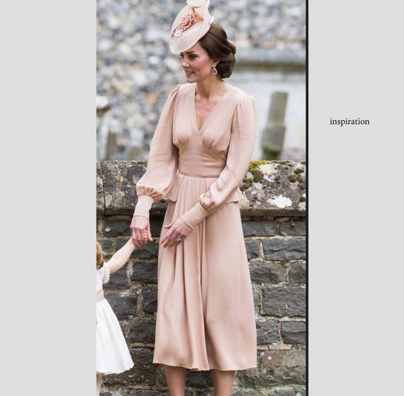 Kate Middleton rosa Plissee Kleid inspiriert Promi Kleid nach | Etsy