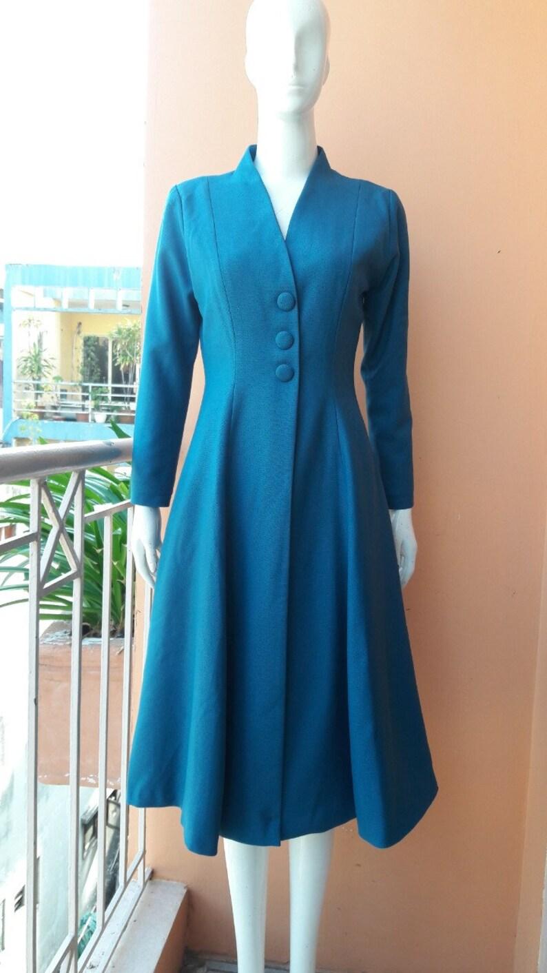 kate middleton blau kleid mantel swing rockabilly promi inspiriert  maßgeschneiderte