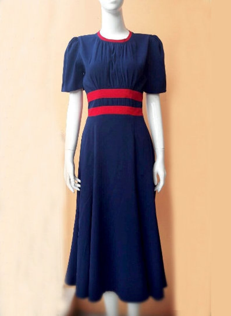 1940s Fashion Advice for Tall Women Agent Carter cosplay swing dress striped custom made blue iconic $98.00 AT vintagedancer.com