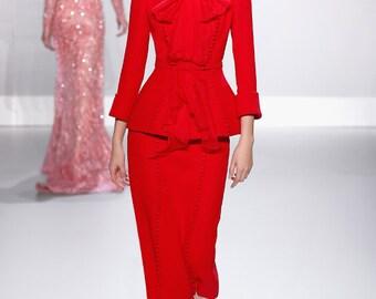 stunning suit jacket & skirt pencil rockabilly runway inspired custom made