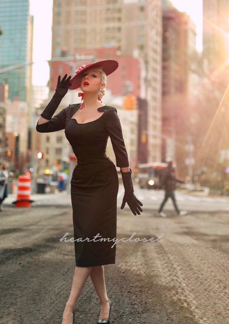 Pin Up Girl Costumes | Pin Up Costumes Janice - old hollywood pencil dress curve neckline $110.00 AT vintagedancer.com