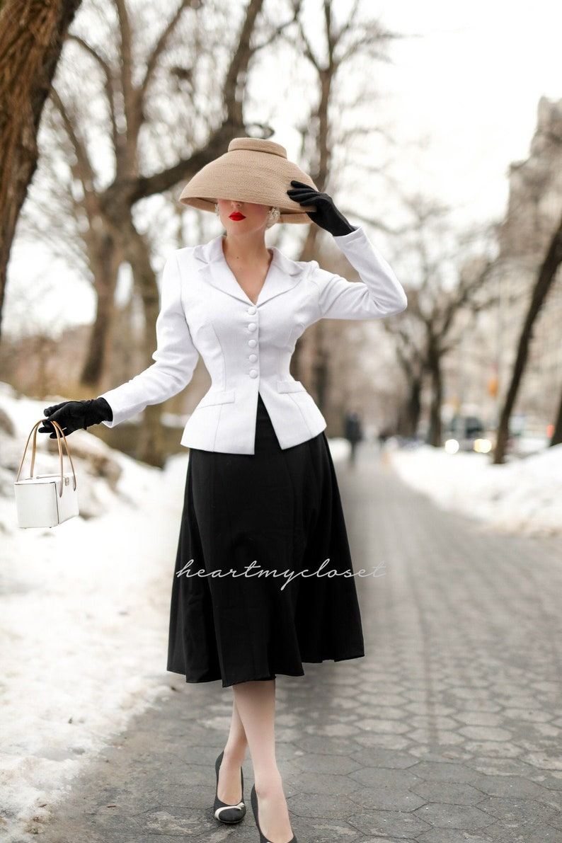 1950s Women's Outfit Inspiration Marion suit jacket swing skirt 1950s custom made to your measurements $160.00 AT vintagedancer.com