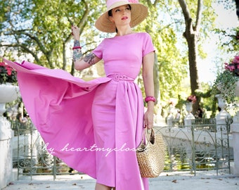 ROSE pencil dress + removable skirt wrap/ custom made all sizes 40s 50s inspiration