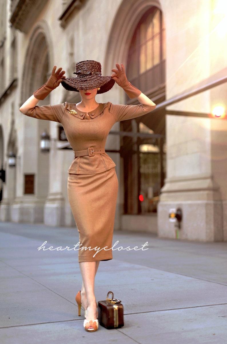 1950s Plus Size Dresses, Swing Dresses Scarlet suit - vintage 1950s suit with pencil skirt $165.00 AT vintagedancer.com