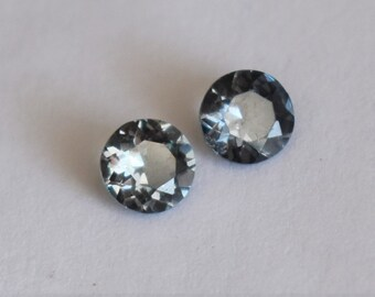 Spinel Pair, Blue Spinel, Burmese Spinel, Burma Spinel, 5mm Spinel Round, Spinel for Earrings, Blue-Grey Spinel Pair