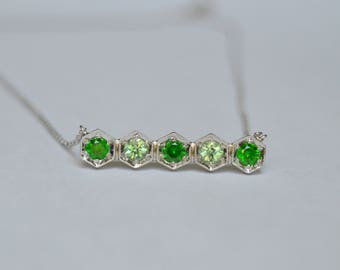 White Gold Eternity Necklace, 14 kt gold necklace, demantoid bar eternity necklace, demantoid necklace