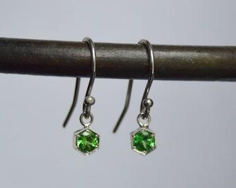 Russian Demantoid Garnet Earrings, Hexagon Dangly Earrings, 14 kt white gold earrings, hexagon garnet earrings, french hooks