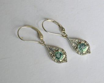 Blue dangly earrings, silver engraved earrings, Fluorite dangly earrings, Fluorite earrings, blue gemstone earrings, Penelope earrings