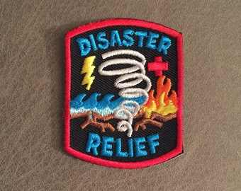 DISASTER RELIEF Iron On Patch Weather Disaster Flood Tornado Fire Hurricane