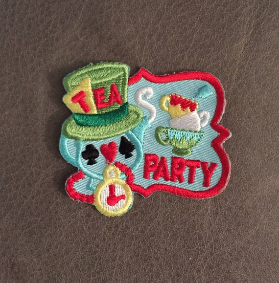 Alice in Wonderland At Tea Party Embroidered Iron on Patch Set of 3