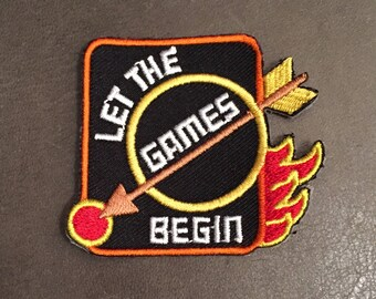Let the Games Begin Merit Badge Archery Flaming Arrow Bullseye Target Flame Adult Scout Patch