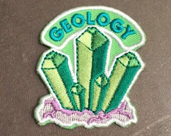 Geology Merit Badge Green Rocks Quartz Crystals Patch