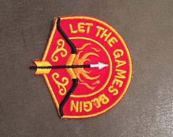 Let The Games Begin Merit Badge Archery Flaming Arrow Bow Olympic Flame Adult Scout Patch