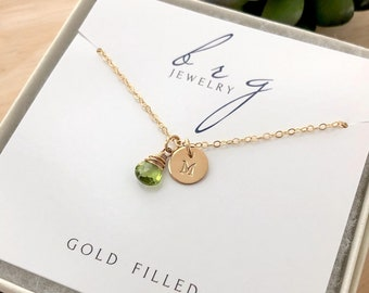 Gold Initial Necklace with August Birthstone Peridot - Personalized Birthday Gifts for Teenage Daughter