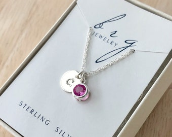 Sterling Silver October Birthstone Necklace with Initial Charm - Birthday Gifts for Granddaughter Niece
