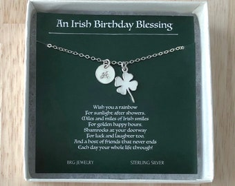 An Irish Birthday Blessing Necklace - Four Leaf Clover Initial Necklace Sterling Silver - Personalized Birthday Day Gifts Best Friend