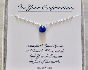 Custom Birthstone Necklace in Sterling Silver or Gold Filled, Confirmation Gifts for Women Teen Girls