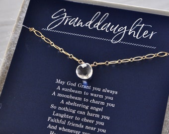 Customized Birthday Gift for Granddaughter, Birthstone Necklace in Sterling Silver or Gold Fill