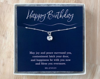 Birthstone Necklace Sterling Silver - Birthday Gifts for Tween Teen Girls Women with an Irish Blessing