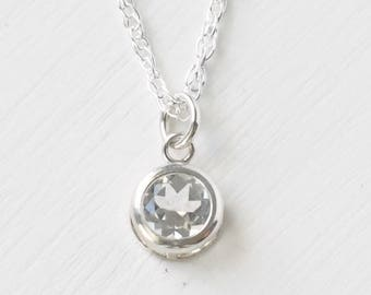 April Birthstone Necklace Sterling Silver / White Topaz Necklace / Small Round Clear Gemstone Pendant