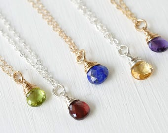 Birthstone pendant etsy 16 inch tiny birthstone necklace gold fill or sterling silver small minimalist birthstone pendant choose your birthstone aloadofball Choice Image