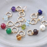 Individual Birthstone Charms for Necklace Bracelet in Gold Fill 6 mm - Real Gemstones Garnet Peridot Amethyst Citrine Ruby