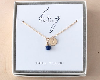 Small Gold Initial Disc Necklace with September Birthstone / Personalized Birthday Gifts for Daughter Granddaughter