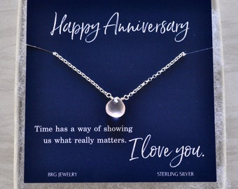 Customized Anniversary Gift Necklace for Wife or Girlfriend in Sterling Silver or Gold Fill