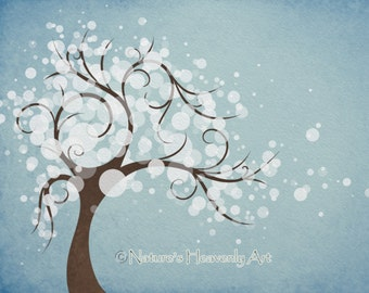 Sky Blue Watercolor Art Winter Tree Art Print 8 x 10, White Abstract Tree Print Wall Decor, Nature Home Decorating