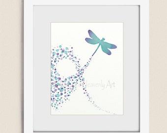 Purple Aqua Dragonfly Wall Art, Girls Nursery Print, 11 x 14 Nature Home Wall Decor (48)